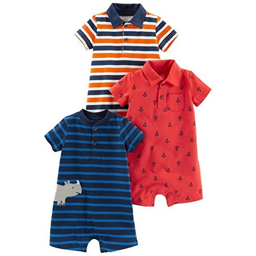 Origany Baby Boys Nautical Blue Chevron All Over Print Baby Short Romper