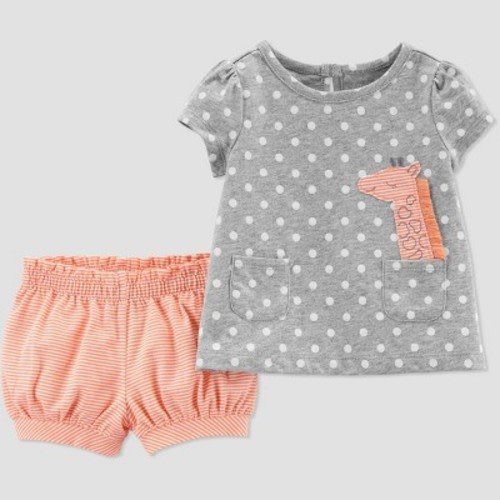 7f2f6775b Baby Girls' 2pc Dots Giraffe Top And Bottom Set - Just One You® made by  carter's Gray/Peach 3M