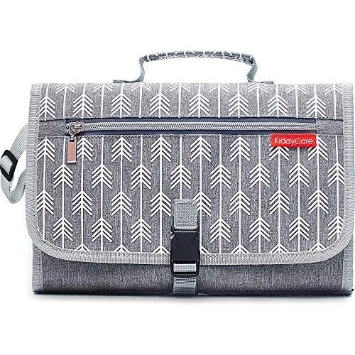 Portable Diaper Changing Pad Built-in Pillow Waterproof Baby Travel Changing Station YearM. Dark Gray with Sand
