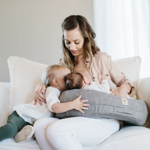 Ergobaby Natural Curve Nursing Pillow + Heathered Grey Cover