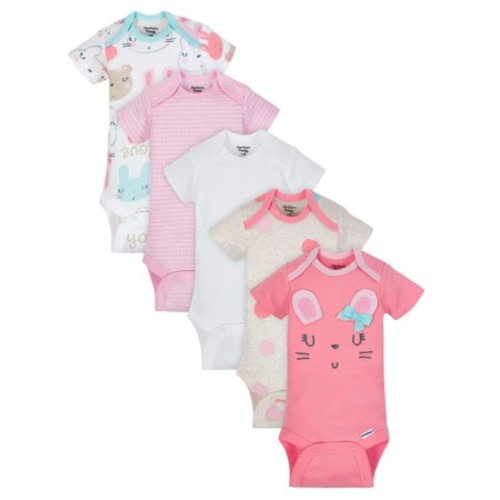 b77569b6b Organic Cotton Short Sleeve Onesies Bodysuits, 5pk (Baby Girl) - Coral - 3  - 9 Months
