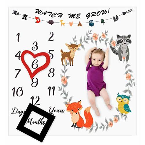 0924e534c Baby Monthly Milestone Blanket Woodland Animals Personalized Photography  Props Backdrop Blankets for Infant Newborn Swaddling Boy Girl Baby.