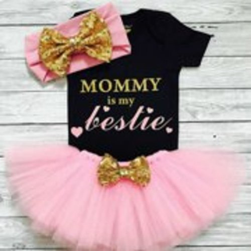 rechange 4Pcs Baby Girl My First Fathers Day Mothers Day Outfits Set Romper Top Polka Dot Tutu Skirt Leg Warmers Headband