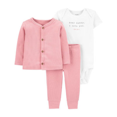 Carters Baby Girls 3-pc The Snuggle is Real Layette Set Peach, 18 Months