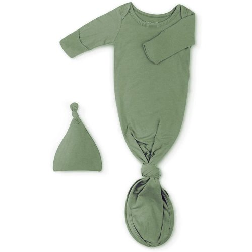 Newborn Baby Knotted Gown Super Soft Silky Infant Long Sleeve Sleeper for Baby Girl and Boy Sleeping Bag with Hat