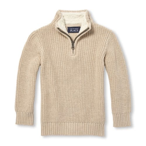 27862339b Baby And Toddler Boys Sherpa Lined Quarter Zip Mock Neck Sweater