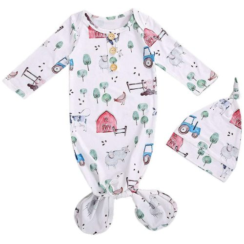 Newborn Baby Girl Boy Nightgowns Organic Cotton Gowns Knotted Sleeping Bag with Hat Coming Home Outfit for Unisex Baby