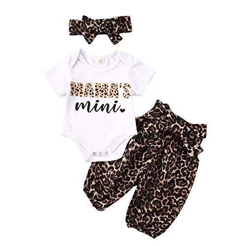 Infant Baby Girls Daddy Saying Clothes Ruffle Romper Bodysuit /&Leopard Harem Shorts Outfits Set