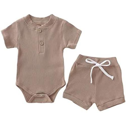 YOUNGER STAR Newborn Baby Clothes Ribbed Cotton One-Piece Romper Short Set Casual Summer Fall Outfit