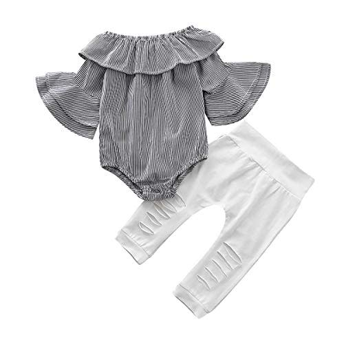 SANMIO Girl Clothes Outfits Cute Toddler Baby Ruffle Sleeve Floral T-Shirt Tops with Ripped Jeans Pants Set