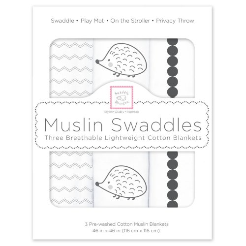 Black Hedgehog SwaddleDesigns Cotton Muslin Squares Set of 3