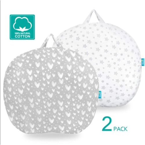 100/% Jersey Knit Cotton Silky Soft Stretchy Removable Slipcover for Girls Boys Snugly Fit Infant Lounger for Baby Newborn Lounger Pillow Cover 2 Pack