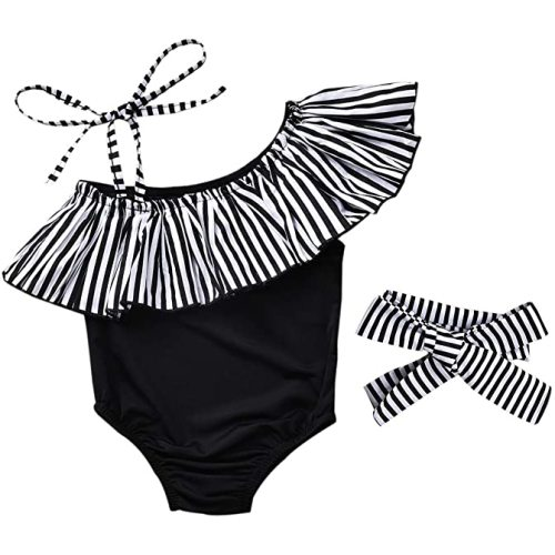 LXXIASHI 1PC Toddler Kids Baby Girl Swimsuits Ruffle Strap Swimwear Leopard Romper Beach Bathing Suit
