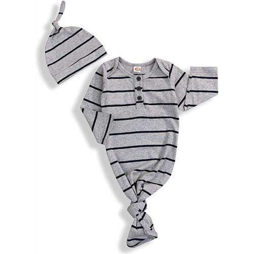 Newborn Baby Boy Girl Sleeper Gowns,Unisex Striped Sleeping Bags Swaddle Sack Coming Home Outfit 0-6 Months