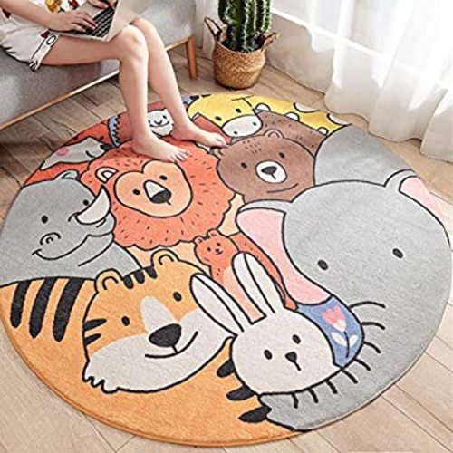 Round Zoo Area Rug Kids Nursery Door Mat Soft Plush Non-Slip Childrens Carpet for Bedroom Living Room Kids Playroom Satbuy Kids Play Rug 4ft
