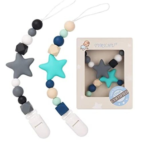 Army Green, Mustard MCGMITT Binky Holder Soothie Teether Teething Soild Beads for Baby Boys or Girls 2 Packs Shower Gift Set Silicone Pacifier Clip