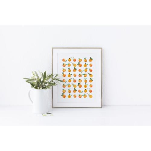 Clementine No Paper Thistle 3 Watercolor Print Paper Thistle Shop Store Gallery Wall Fruit Art Kitchen or Nursery Wall Art