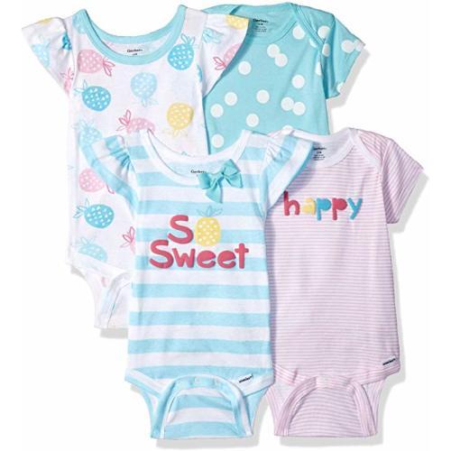 7fe8d3214 Baby Girls' 4-Pack Short-Sleeve Onesies Bodysuit - 0-3 Months - Pineapple