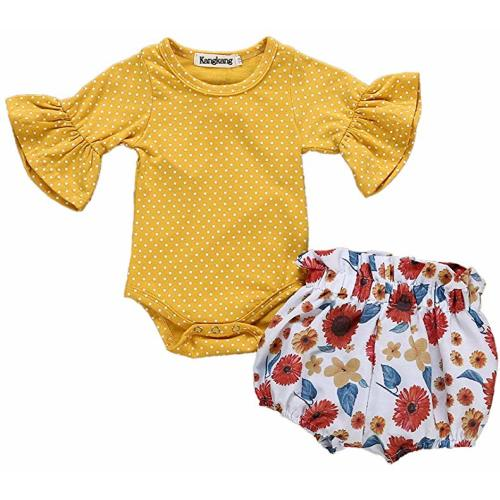 106a9bf15 Newborn Baby Girl Clothes Flare Sleeve Romper + Floral Short Pants 2pcs  Summer Outfit Set 0-18Months