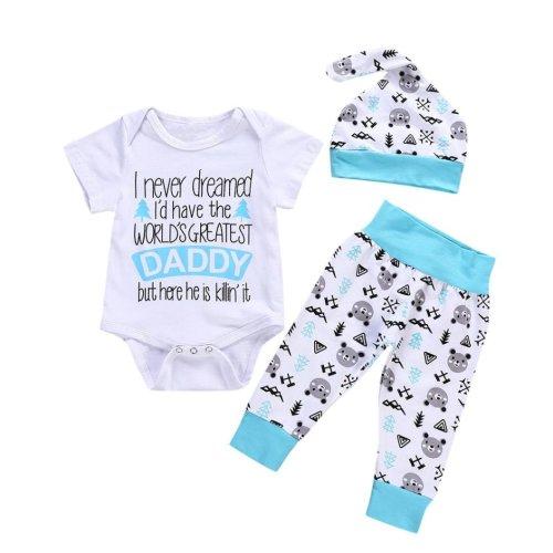 WARMSHOP 3Pcs Toddler Boys Girls Layette Sets Letter Print Short Sleeve Romper Tops+Arrow Print Short Pants+Bowknot Headbands