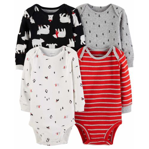 ee9db7adf7533 Carter's Unisex Baby 4-Pack Long-Sleeve Bodysuits (18 Months, Boys  Red/Multi)