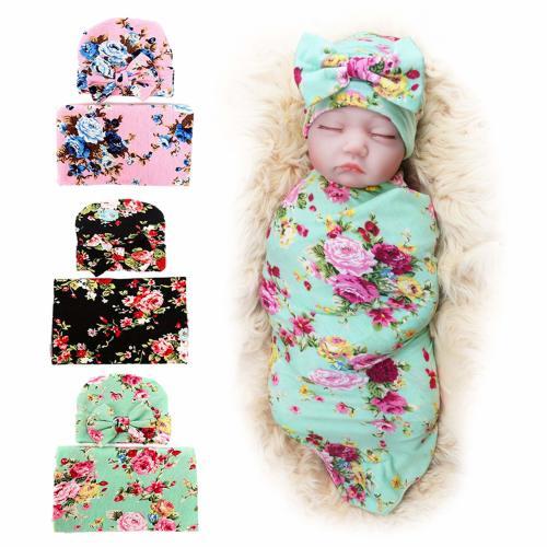 e32a910b37e539 3 Pack BQUBO Newborn Floral Receiving Blankets Newborn Baby Swaddling with  Headbands or Hats Sleepsack Toddler Warm
