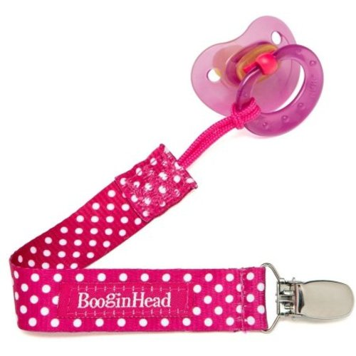 2 Pack Pink Hearts//Pretty Plum The Original PaciGrip Dummy Clip BooginHead