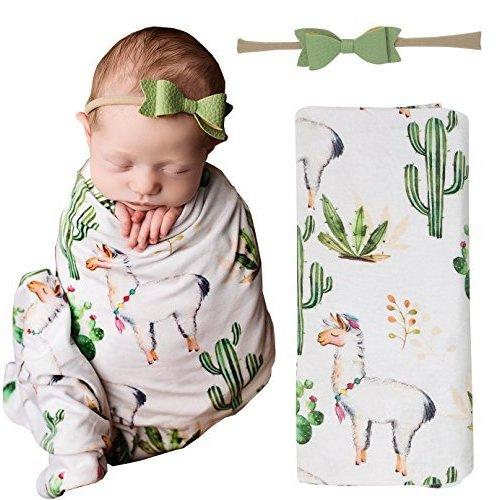 de67c18394e60 Posh Peanut Mermaid Baby Swaddle Blanket - Large Premium Knit Baby  Swaddling Receiving Blanket and Headband Set, Baby Shower Newborn Gift  (Llama)