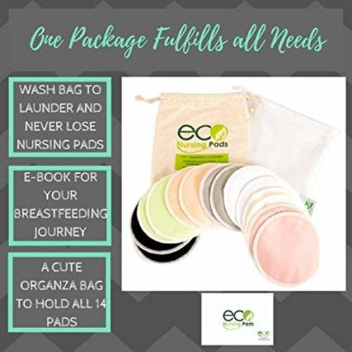 Washable Reusable Bamboo Nursing Pads Medium 10cm Perfect Baby Shower Gift Organic Bamboo Round Breastfeeding Pads | 14 Pack with 2 BONUS Pouches /& FREE E-Book by EcoNursingPads