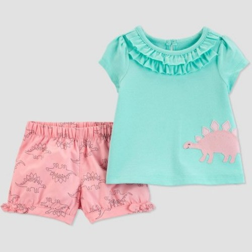 c0c348c99 Baby Girls' 2pc Dino Top And Bottom Set - Just One You® made by carter's  Turquoise/Pink Newborn