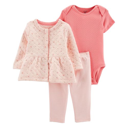 Baby Girls Pink Bamboo 3pc Gown Hat Blanket Layette Set 6M