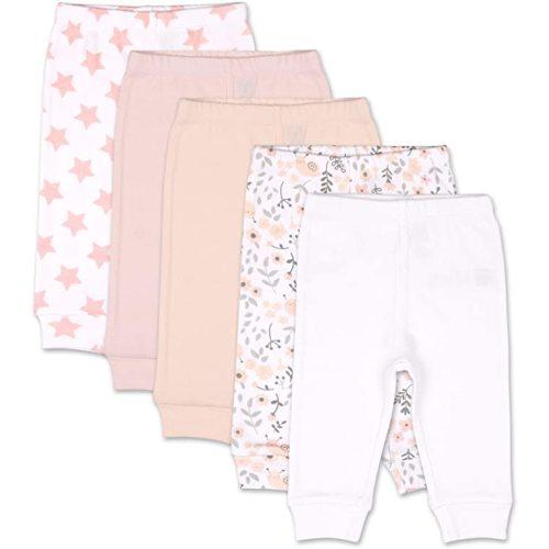 The Peanutshell Flowers /& Stars 5 Pack Baby Pants in Pink