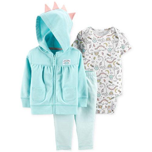 7dd7e0c0f3d7c Carter's Baby Girls 3-Pc. Cotton Dinosaur Hoodie, Bodysuit & Leggings Set -  Sets & Outfits - Kids - Macy's