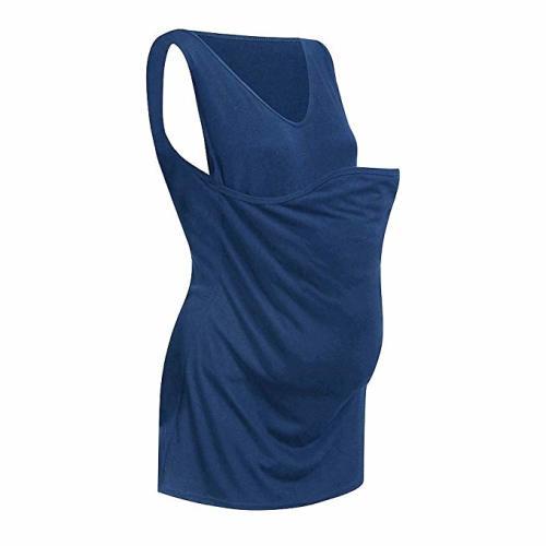 0637c970fb3e4 Maternity Womens Mommy Kangaroo Pocket Tank Tops Nursing Breastfeeding  t-Shirt Blouse Loose Comfort Summer Clothes - Medium - Blue