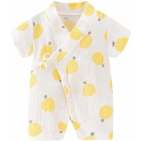 PAUBOLI Baby Kimono Robe Newborn Cotton Yarn Bodysuit Romper Infant Japanese Pajamas 0-24 Months