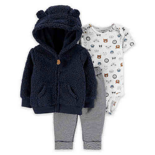 Carters Newborn Ivory Unisex 3pc Bear Outfit Set With Paws Super Soft Flannel