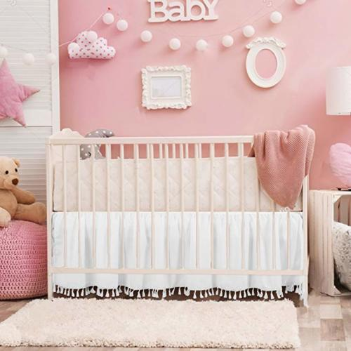 Dust Ruffle and Pillow Case Nursery Baby Bedding Set of Crib Fitted Sheet Crib Quilt Orange Infinity 4 Piece Pink Elephants Crib Bedding Sets for Girls for Standard Size Crib