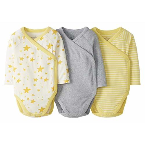 Moon and Back by Hanna Andersson 3 Pack Long Sleeve Side Snap Bodysuit Unisex-Bimbi 0-24