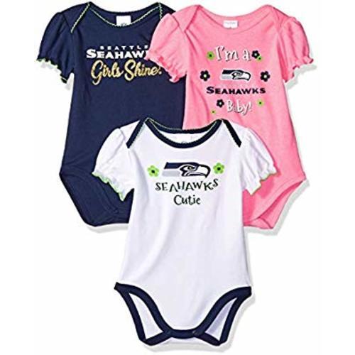 One Size NFL Infant Girls Seattle Seahawks Dribbler Bibs /& Burp Cloth Set