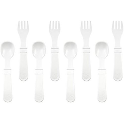 RE-PLAY Made in The USA White Eco Friendly Recycled Milk Jugs Grey |Glacier+ Sand 8pk Toddler Feeding Utensils Spoon and Fork Set Virtually Indestructible Ice Blue