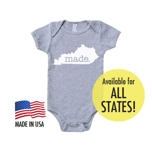 10185ef2 All States 'Made' Cotton Baby One Piece Bodysuit - Infant Girl and Boy Gift  American Apparel Baby Clothing, Pink 3-6 months, Texas