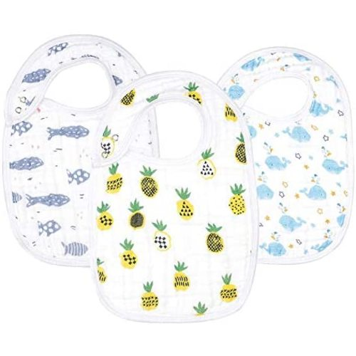 Snap close sharks and whales 100/% Cotton flannel 2-pack toddler bibs with food catcher pocket