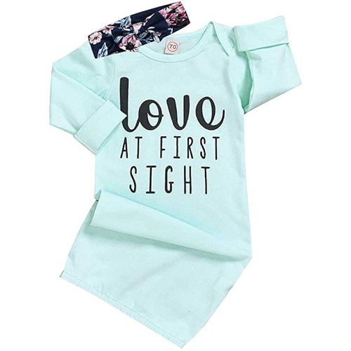 Baby Girl Love at First Sight Sleeping Gown,Isnt She Lovely Coming Home Outfit Sleepwear Romper Sleeping Bags
