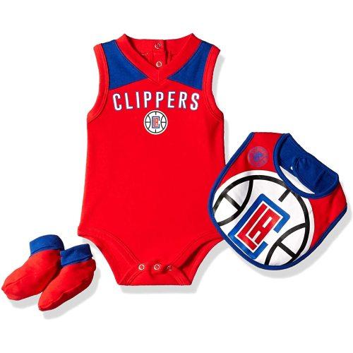 OuterStuff NBA Newborn Infants Overtime 3 Piece Creeper Bib and Booty Bodysuit Set