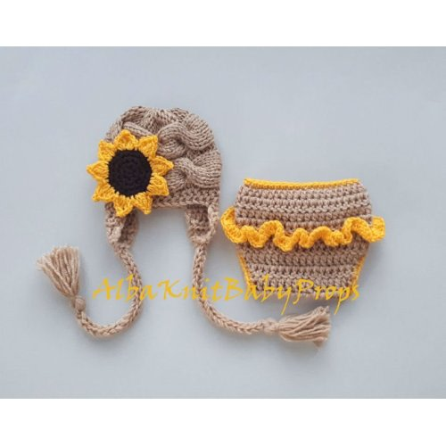2c47c58d4 Sunflower Hat and Diaper Cover_Baby Girl Sunflower Outfit_Baby Sunflower  Set_Newborn Photo Prop-Hello World Newborn Outfit