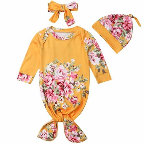 bc98b8049 Baby Boys Girls Floral Knotted Sleeper with Headband Hat Coming Home Outfit  | Mermaid Baby Gown - Yellow - 0-3 Months