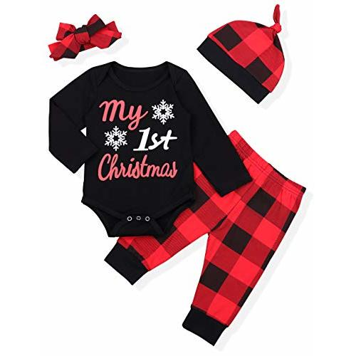 SUPEYA Toddler Baby Boys Girls Christmas Tree T-Shirt Plaid Print Pants Set Outfits