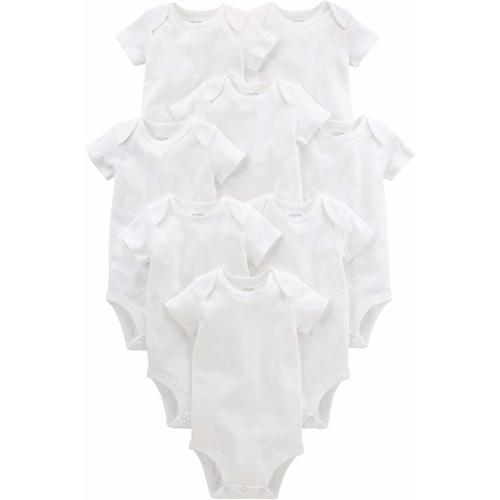 Simple Joys by Carters Baby 8-Pack Short-Sleeve Bodysuit White//Light Medium Heather Grey 3-6 Months