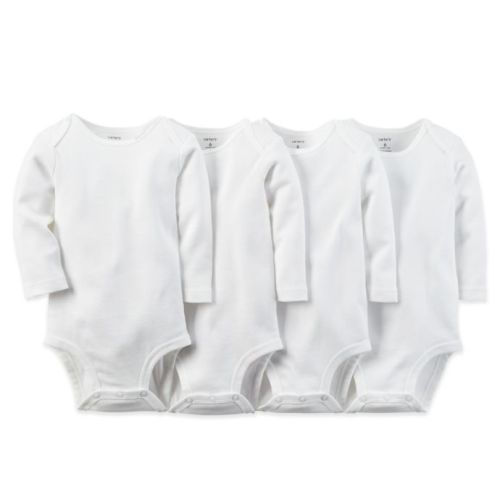 90d8e1fb5ca0d carter's® 4-Pack Size 6 Months White Long Sleeve Bodysuits · Babylist$17.99