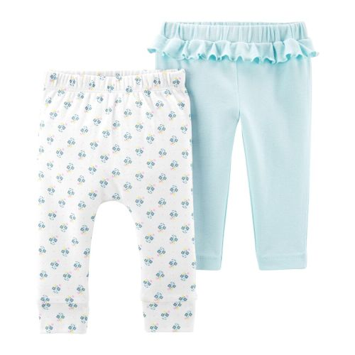 Baby Girls Leggings 3 Pack Cotton Pants Attached Feet Trousers 0-3 Months